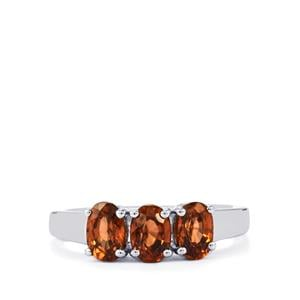 Cognac Zircon Ring in Sterling Silver 2.27cts