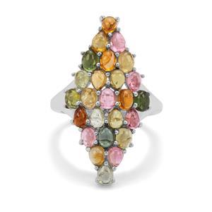4.61ct Pederneira Multi-Colour Tourmaline Sterling Silver Ring