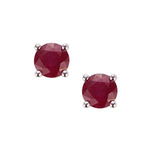 Malagasy Ruby Earrings in Sterling Silver 1.51cts (F)