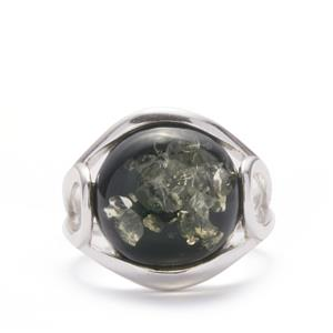 Baltic Green Amber Ring in Sterling Silver (14mm)