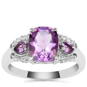 Ametista Amethyst Ring with White Topaz in Sterling Silver 3.08cts