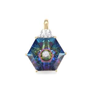 Lehrer TorusRing Mystic Topaz Pendant with Diamond in 10K Gold 6.80cts
