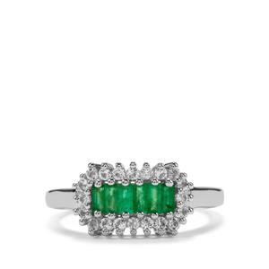 Luhlaza Emerald Ring with White Topaz in Sterling Silver 0.92ct