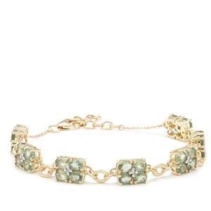 Green Sapphire Bracelet with Diamond in 9K Gold 7.06cts
