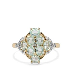 Paraiba Tourmaline Ring with Diamond in 10k Gold 1.29cts