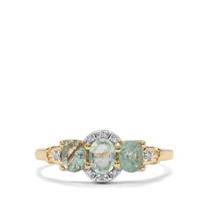 Paraiba Tourmaline Ring with Diamond in 9K Gold 0.98cts