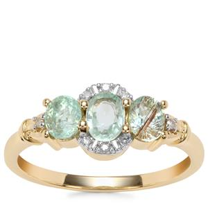 Paraiba Tourmaline Ring with Diamond in 10K Gold 0.98cts