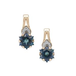 Wobito Snowflake Cut Jetstream Topaz Earrings with Diamond in 9K Gold 5.70cts