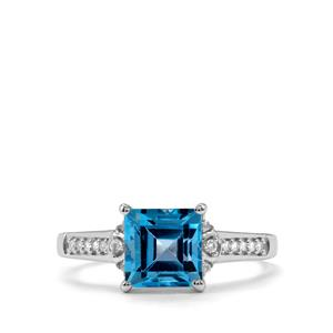 Swiss Blue Topaz Ring with White Topaz in Sterling Silver 2.26cts