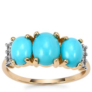 Sleeping Beauty Turquoise Ring with White Zircon in 9K Gold 2.44cts