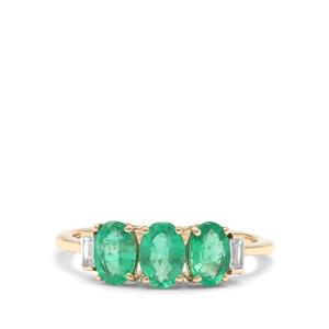 Siberian Emerald Ring with White Zircon in 9K Gold 1.52cts
