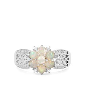 Ethiopian Opal & White Zircon Sterling Silver Ring ATGW 0.74ct