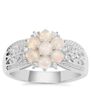 Ethiopian Opal Ring with White Zircon in Sterling Silver 0.74ct