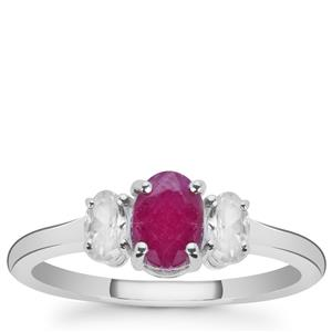 Luc Yen Ruby Ring with White Zircon in Sterling Silver 1.87cts