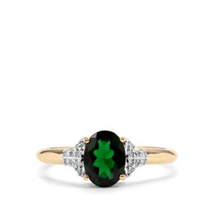 Chrome Tourmaline & Diamond 14K Gold Tomas Rae Ring ATGW 1.05cts