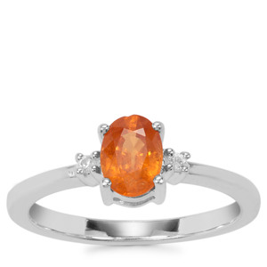 Mandarin Garnet Ring with White Zircon in Sterling Silver 1.12cts