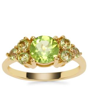 Red Dragon Peridot Ring in Gold Plated Sterling Silver 2.22cts