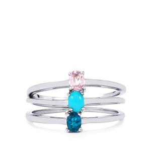 Pink Sapphire, Sleeping Beauty Turquoise & Neon Apatite Sterling Silver Set of 3 Rings ATGW 0.55cts