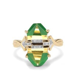 Lehrer Cosmic Obelisk Green Onyx, Green Gold Quartz Ring with Diamond in 9K Gold