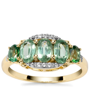 Odisha Kyanite, Green Topaz Ring with White Zircon in 9K Gold 1.93cts