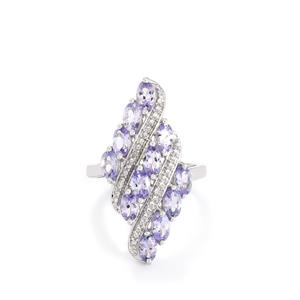 Tanzanite Ring with Diamond in Sterling Silver 2.69cts