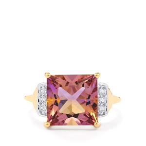 Anahi Ametrine Ring with White Zircon in 10k Gold 4.61cts