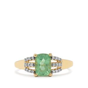 Paraiba Tourmaline & Diamond 18K Gold Tomas Rae Ring MTGW 1.24cts