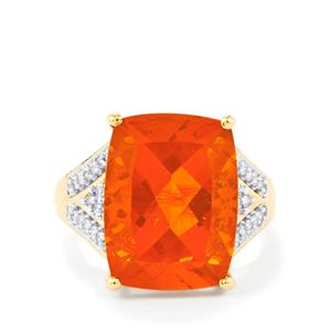 Honey American Fire Opal Ring with Diamond in 14k Gold 7.74cts