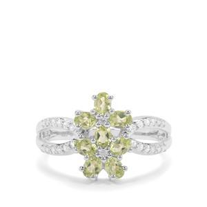 Changbai Peridot & White Zircon Sterling Silver Ring ATGW 1.70cts