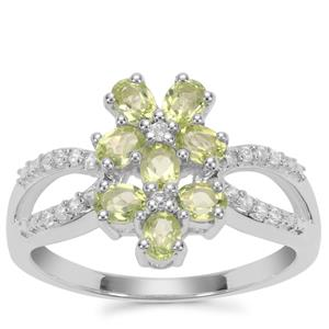 Changbai Peridot Ring with White Zircon in Sterling Silver 1.70cts