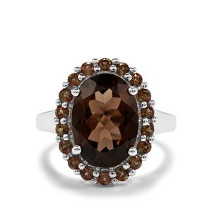 Smokey Quartz & Sopa Andalusite Sterling Silver Ring ATGW 5.82cts