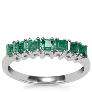 Carnaiba Brazilian Emerald Ring with Diamond in Sterling Silver 0.56ct