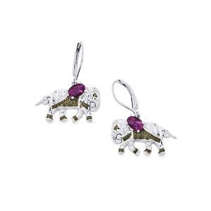 0.88ct Ametista Amethyst Sterling Silver Earrings