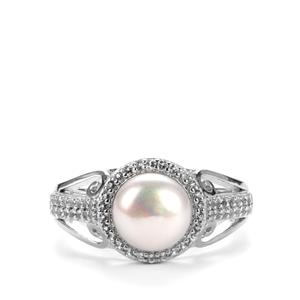 Kaori Cultured Pearl Ring with White Topaz in Sterling Silver (7.5mm)