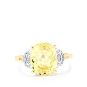Canary Kunzite Ring with Diamond in 9K Gold 4.46cts