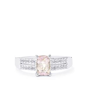 Minas Gerais Kunzite & White Topaz Sterling Silver Ring ATGW 1.22cts