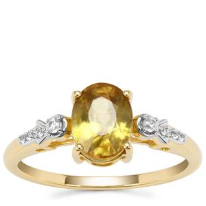 Ambilobe Sphene Ring with White Zircon in 9K Gold 1.76cts