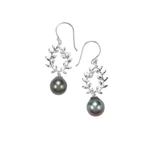 Tahitian Cultured Pearl Sterling Silver Earrings (11mm)