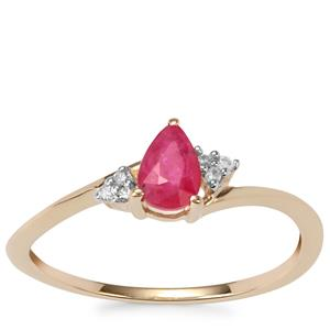 Montepuez Ruby Ring with Diamond in 9K Gold 0.50ct