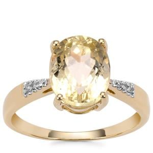 Canary Kunzite Ring with Diamond in 10k Gold 3.54cts