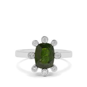 Chrome Diopside & White Zircon Sterling Silver Ring ATGW 2.52cts