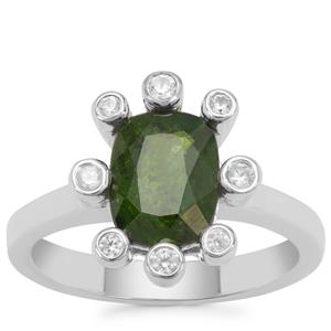 Chrome Diopside Ring with White Zircon in Sterling Silver 2.52cts