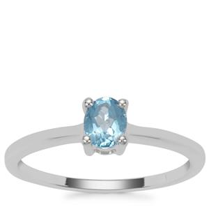 Swiss Blue Topaz Ring in Sterling Silver 0.42ct