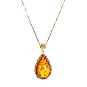 Baltic Cognac Amber  Gold Tone Sterling Silver Necklace (30x19mm)