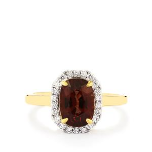 Colour Change Garnet & Diamond 18K Gold Tomas Rae Ring MTGW 3.37cts