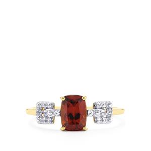 1.65ct Zanzibar & White Zircon 9K Gold Ring