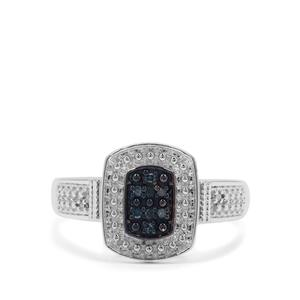Blue Diamond Ring with White Diamond in Sterling Silver 0.05ct