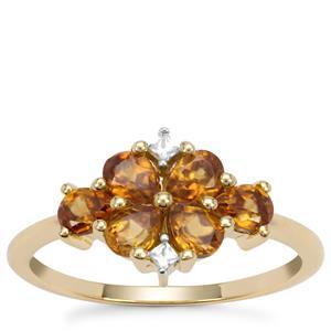 Morafeno Sphene Ring with White Zircon in 9K Gold 1.20cts