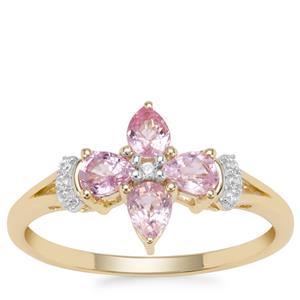 Sakaraha Pink Sapphire Ring with White Zircon in 9K Gold 0.85ct