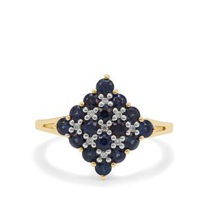 Australian Blue Sapphire Ring with White Zircon in 9K Gold 1.35cts